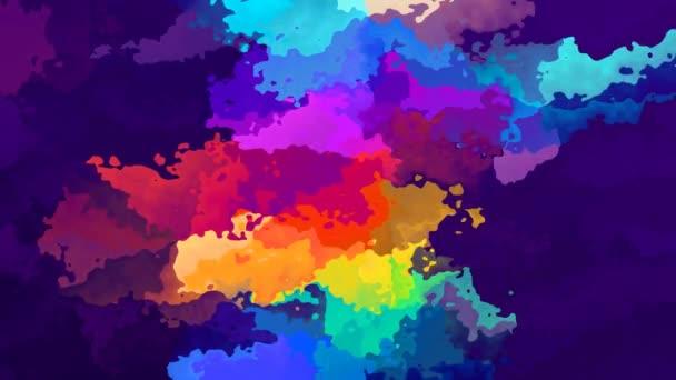 abstraktní animovaný twinking obarví pozadí bezešvé smyčka video - akvarel skvrnou efekt - tmavě purpurově fialová s plnobarevným duhového spektra
