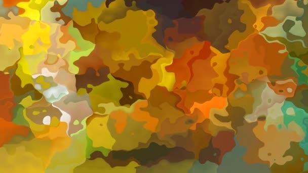 abstraktní animovaný twinking obarví pozadí bezešvé smyčka video - akvarel skvrnou efekt - vojenské maskování, kamufláž khaki, okrové, oranžové, zelené a hnědé barvy