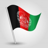 vector waving simple triangle afghan flag on slanted silver pole - symbol of afghanistan with metal stic