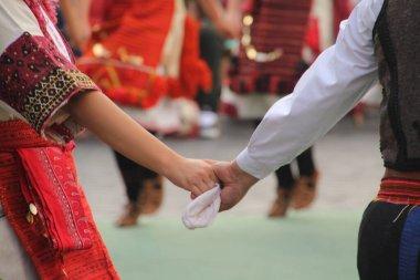 Macedonian folk dance in a street festival
