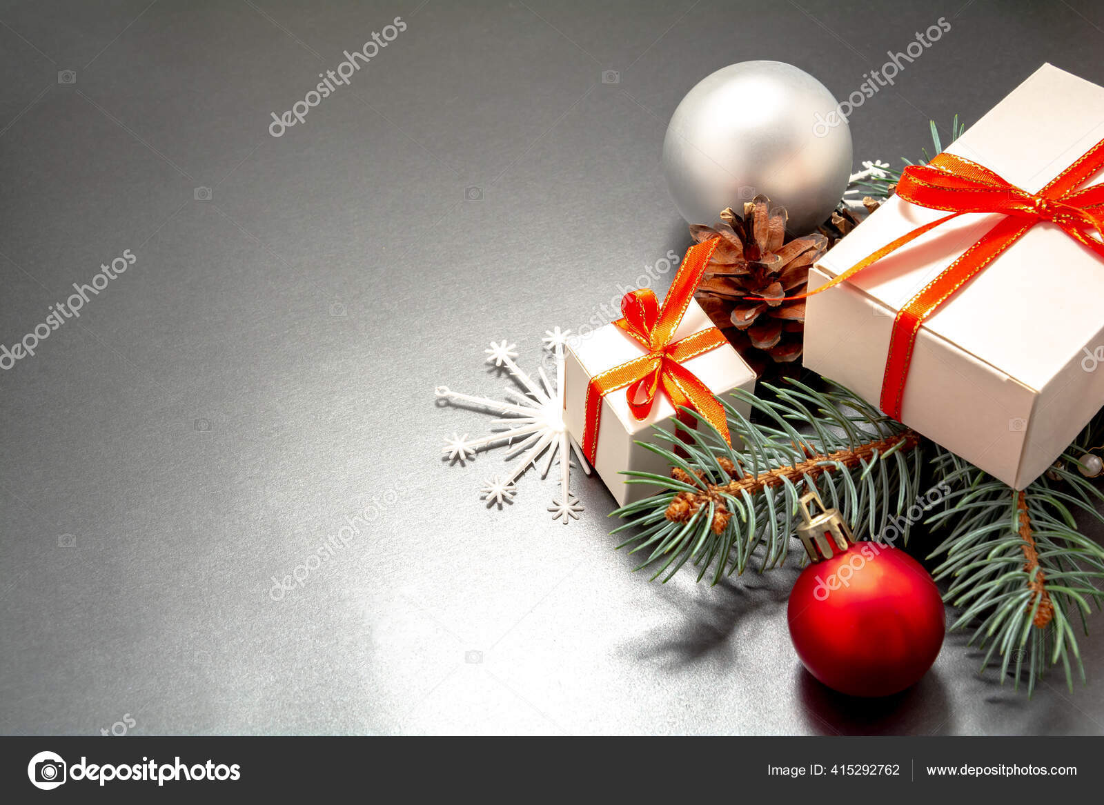 Christmas Ribbon 2021 2021 Happy New Year Merry Christmas Decorations Flatlay Gift Boxes Stock Photo Image By C Smartha 415292762