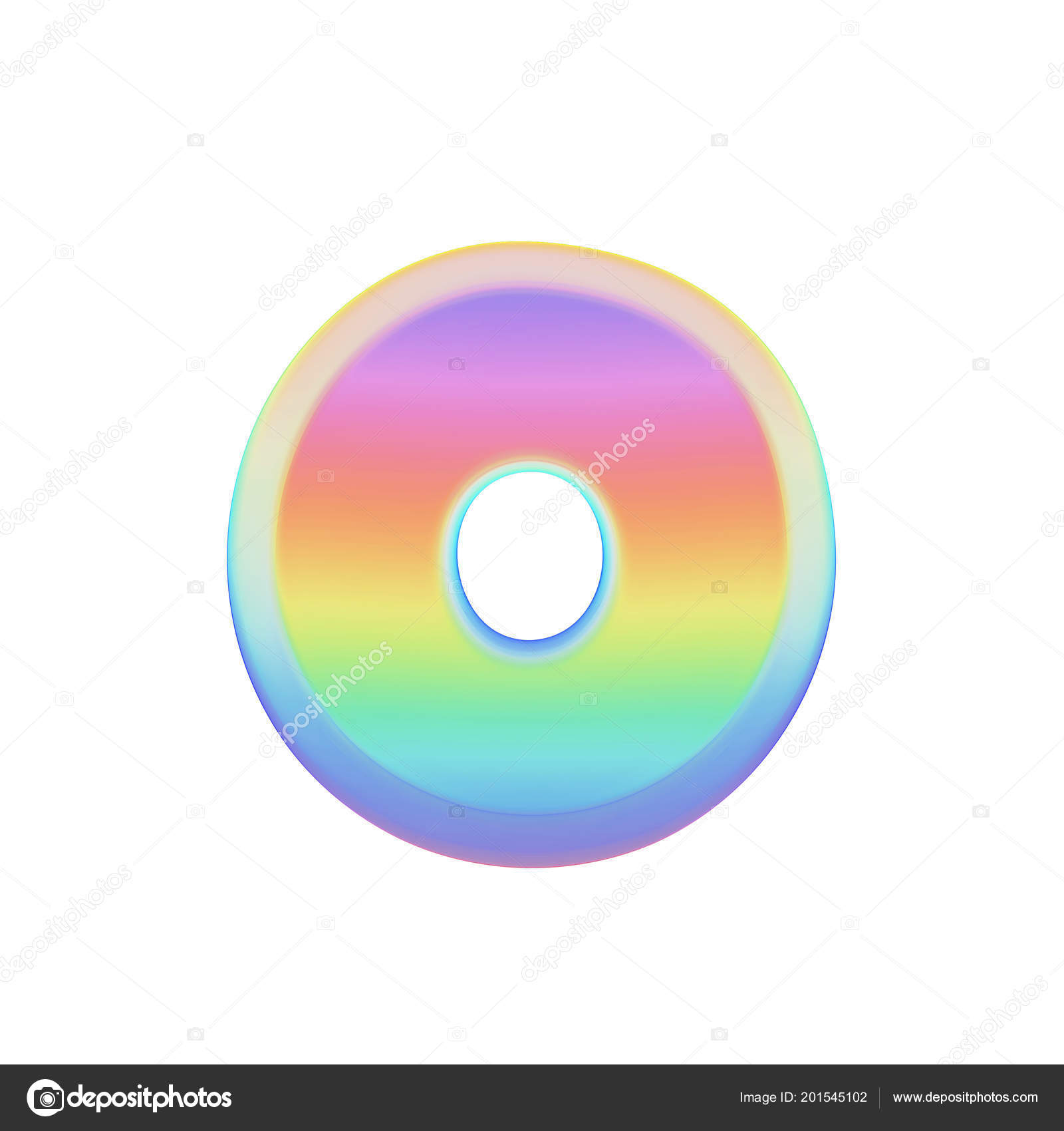 Alphabet Letter O Uppercase Rainbow Font Made Of Bright Soap Bubble