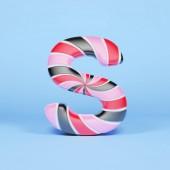 Písmeno abecedy S velká písmena. Vánoční písmo z růžové, červené a černé pruhované lízátko. 3D vykreslování na modrém pozadí