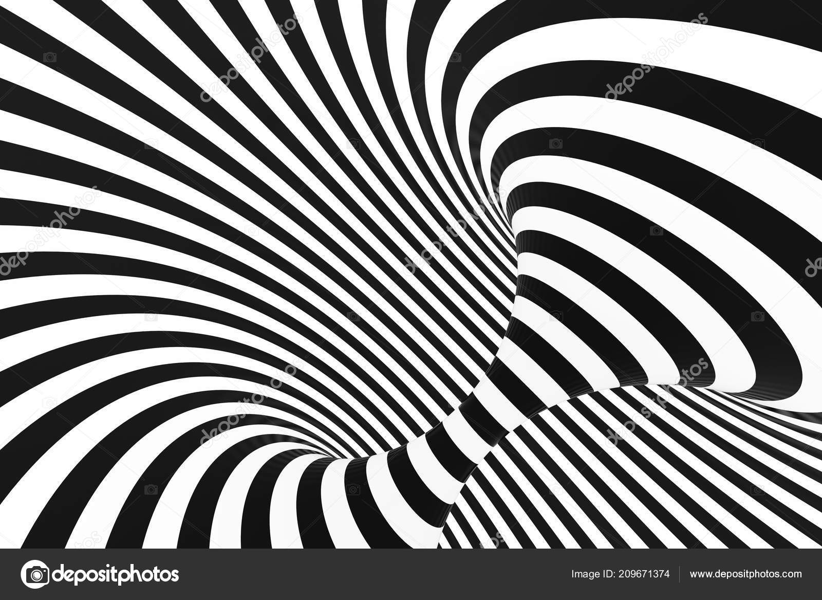 Black and white spiral tunnel striped twisted hypnotic