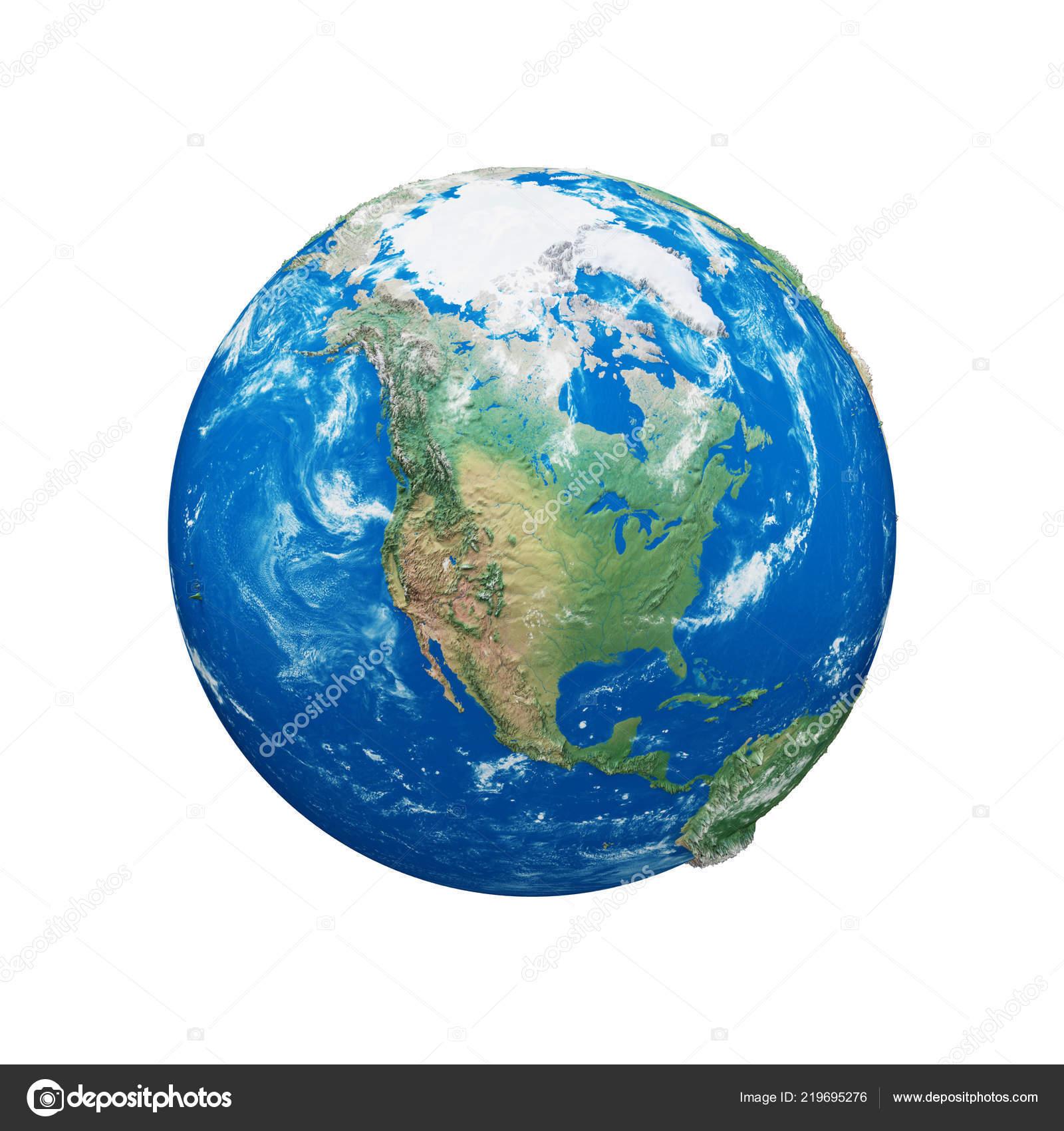 Globe De La Terre De Planète Isolé Sur Fond Blanc Bleu Et