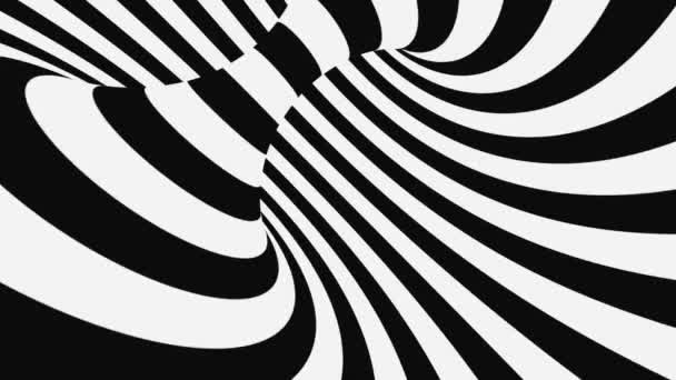 Black and white psychedelic optical illusion. Abstract hypnotic animated background. Spiral geometric looping monochrome wallpaper