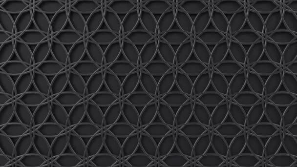 Arabesque hurkolás geometriai mintázat. Fekete-fém iszlám 3D motívum. Arab orientális animált háttér.