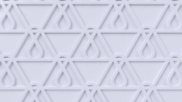 Arabesque hurkolás geometriai mintázat. Fehér iszlám 3D motívum. Arab orientális animációs háttér. Muszlim mozgó háttérkép.