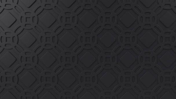 Arabesque hurkolás geometriai mintázat. Fekete iszlám 3D motívum. Arab orientális animált háttér.