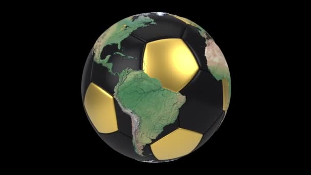 Realistic soccer ball isolated on black screen. 3d seamless looping animation. Detailed world map on black and gold soccer ball.