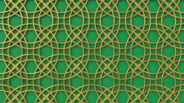Arab hurok geometriai minta. Arany és zöld iszlám 3D motívum. Arab keleti animációs háttér.
