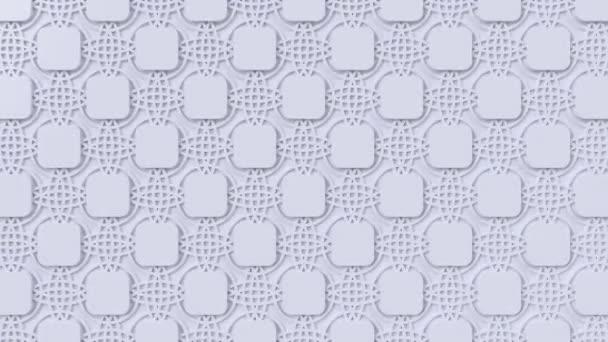 Arabesque hurkolás geometriai mintázat. Fehér iszlám 3D motívum. Arab orientális animált háttér.