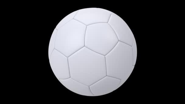 Realisztikus fehér focilabda elszigetelt fekete háttérrel. 3D-s hurok animáció.