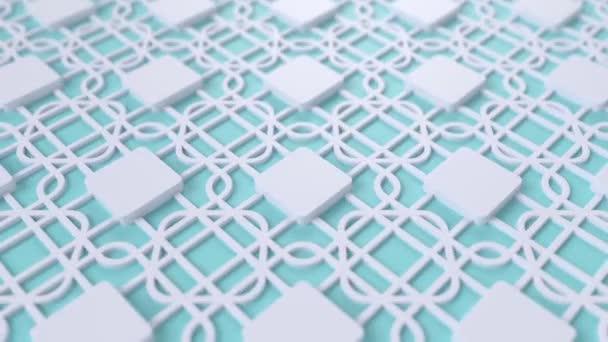 Arab hurok geometriai minta. Kék-fehér iszlám 3D motívum. Arab keleti animációs háttér. Muszlim mozgó tapéta.
