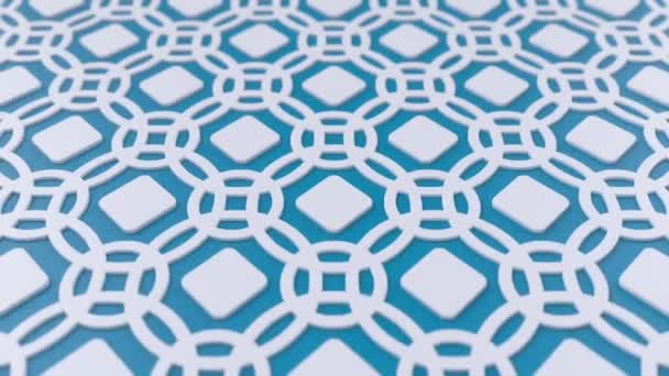 Arab hurok geometriai minta. Kék-fehér iszlám 3D motívum. Arab keleti animációs háttér.