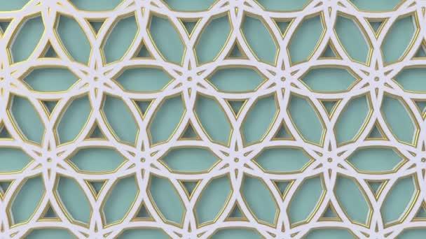 Arab hurok geometriai minta. Zöld és fehér iszlám 3D motívum. Arab keleti animációs háttér.