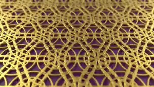 Arab hurok geometriai minta. Arany és ibolya iszlám 3D motívum. Arab keleti animációs háttér.