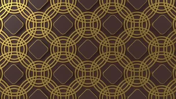 Arabesque hurkolás geometriai mintázat. Arany és barna iszlám 3D motívum. Arab orientális animált háttér.