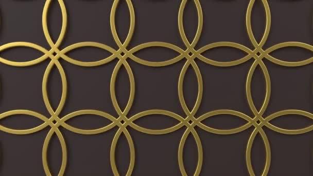 Arabesque opakuje geometrický vzor. Zlatá a hnědá islámská 3D motivy. Arabský orientální animovaný pozadí.