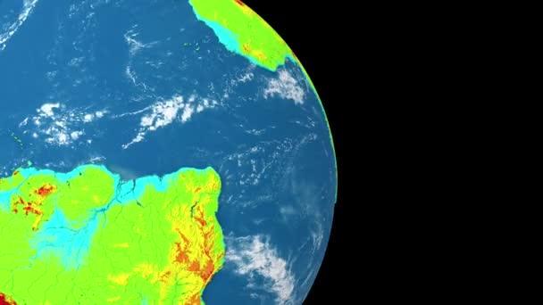 Rotující planeta Země izolovaná na černém pozadí. Topografický reliéf, nadmořská výška. Bezproblémová animace smyčky.