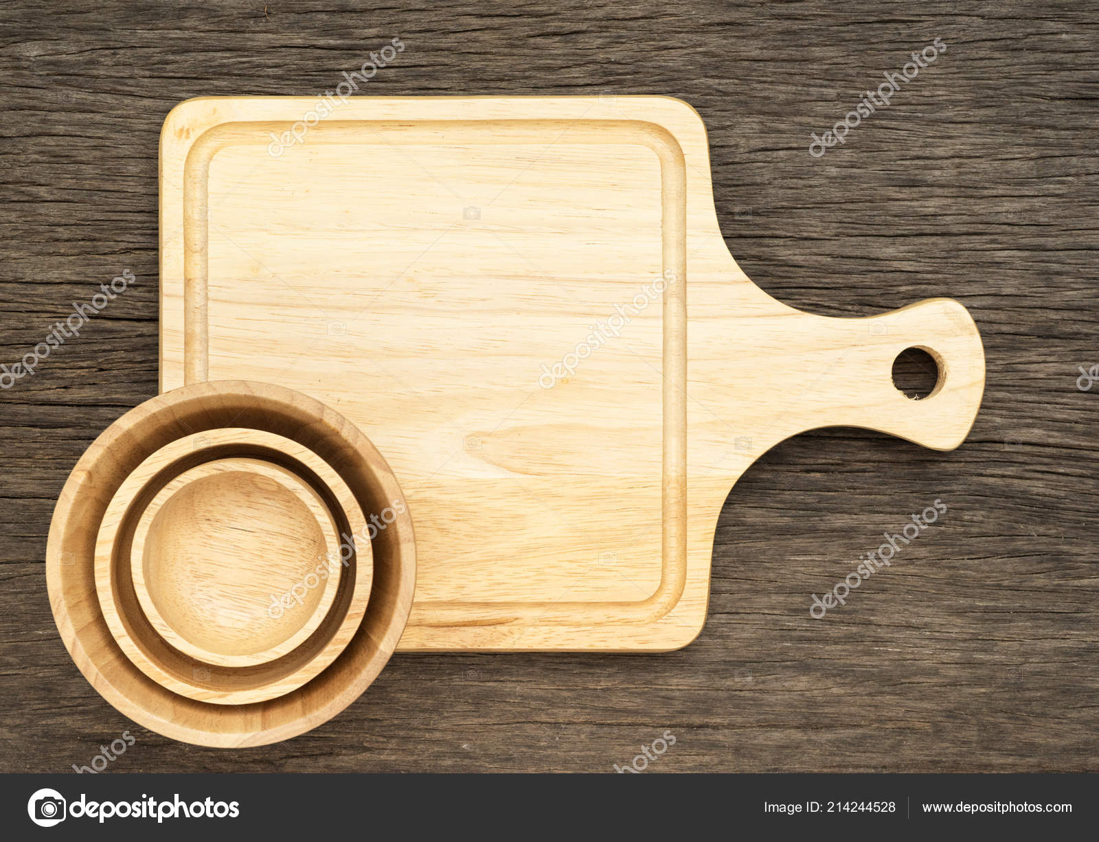 Cutting Board Bowl Wooden Kitchen Table Top View — Stock