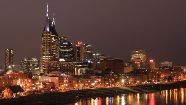 Night To Day Timelapse Of Nashville Tennessee Cityscape And River 4k