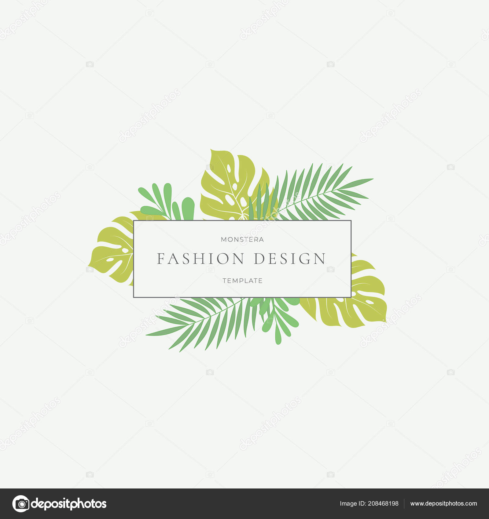 Monstera Tropical Leaves Fashion Sign Or Logo Template Abstract Green Foliage With Rectangle Border And Classy Typography Pastel Colors Stock Vector C Createvil 208468198 It's the tropical leaves earrings. https depositphotos com 208468198 stock illustration monstera tropical leaves fashion sign html