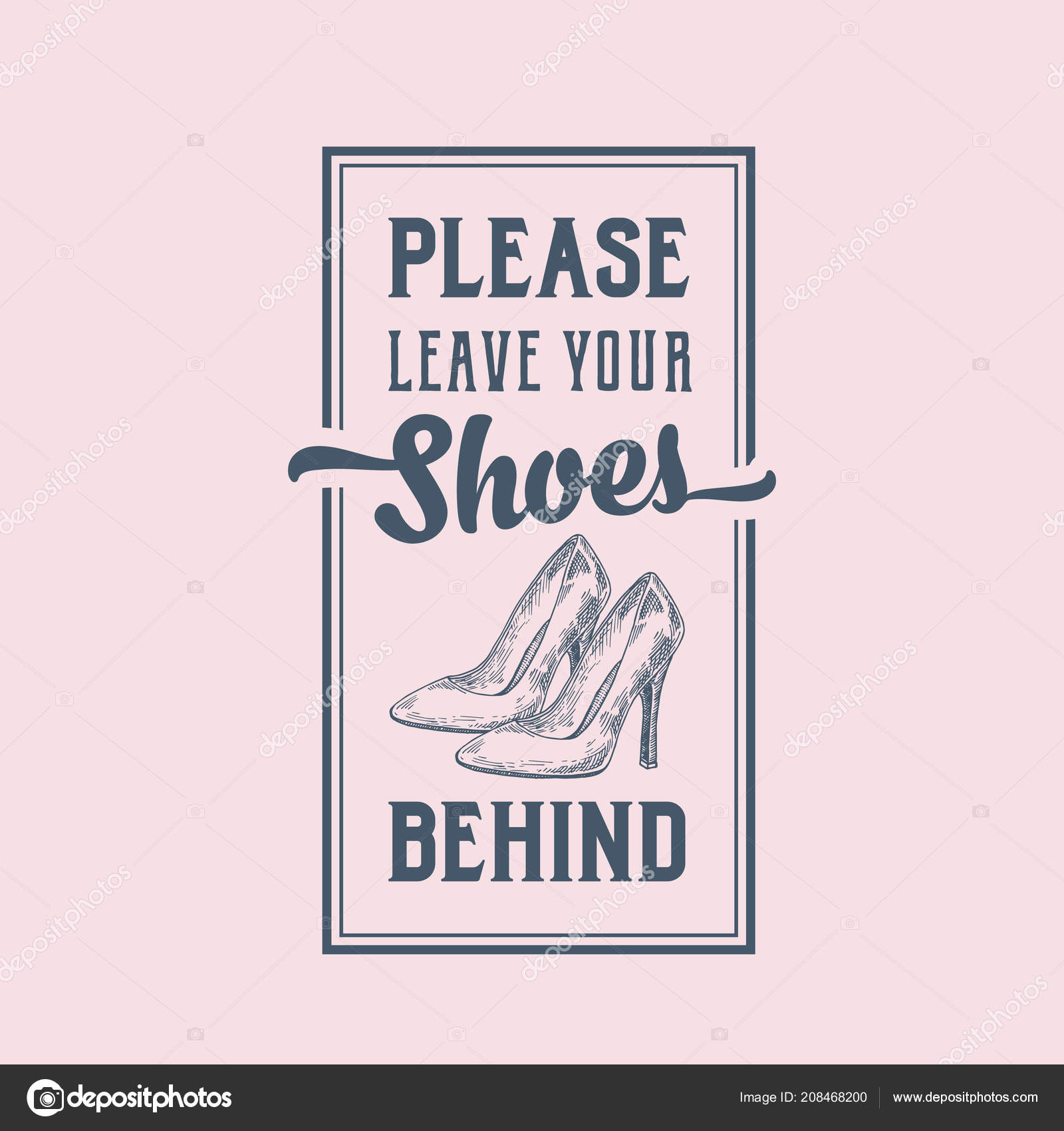 Please Leave Your Shoes Behind Abstract Vector Sign Label or