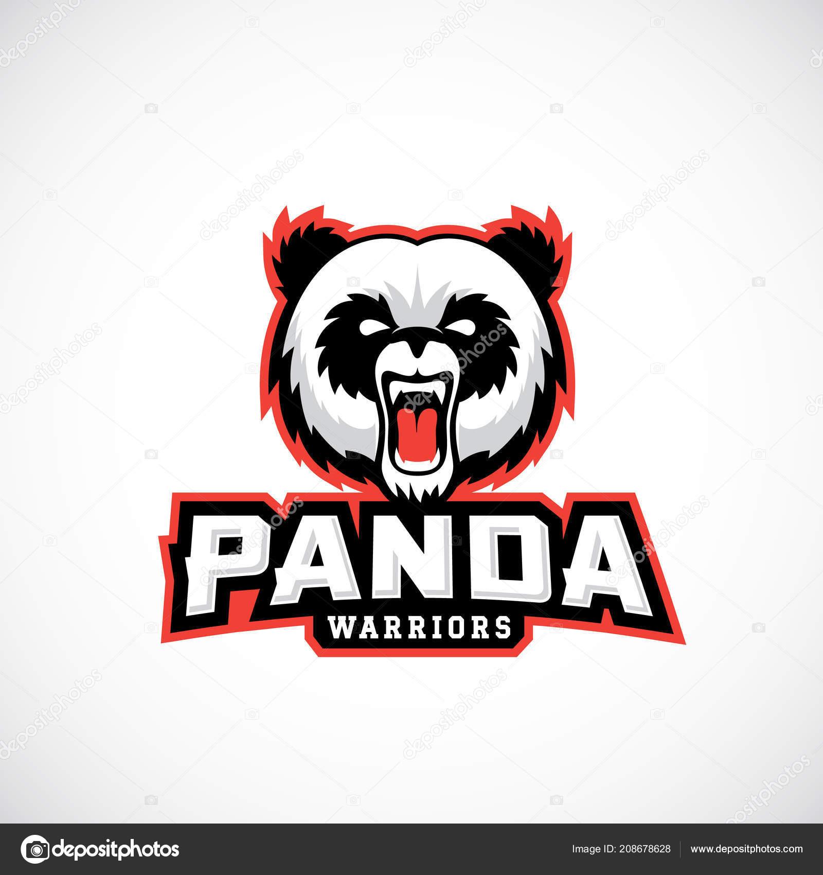 panda warriors abstract vector sign emblem or logo template sport