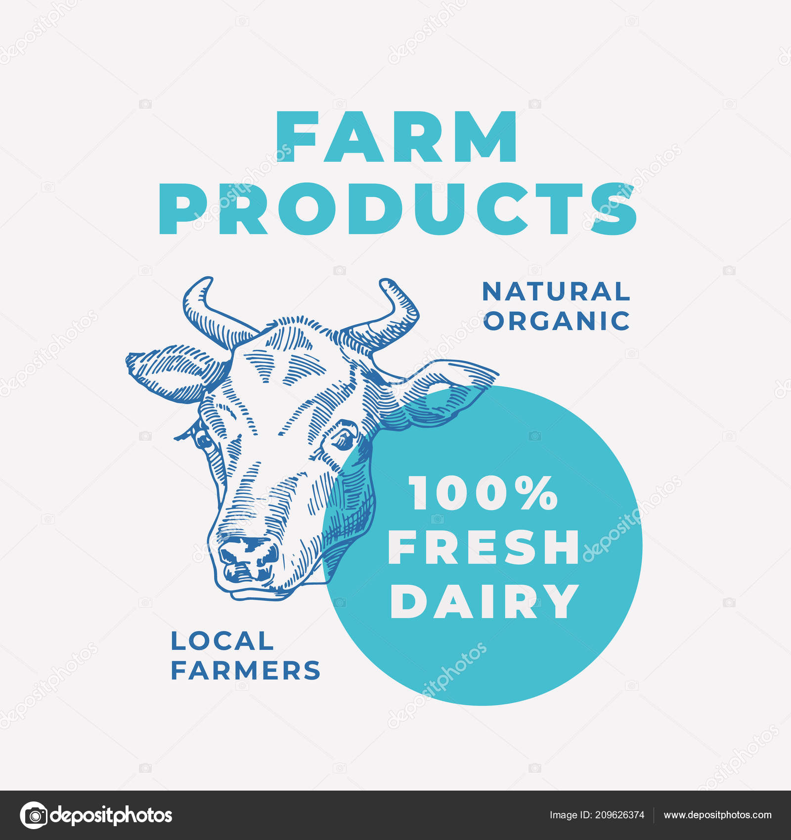 local dairy products abstract vector sign symbol or logo template