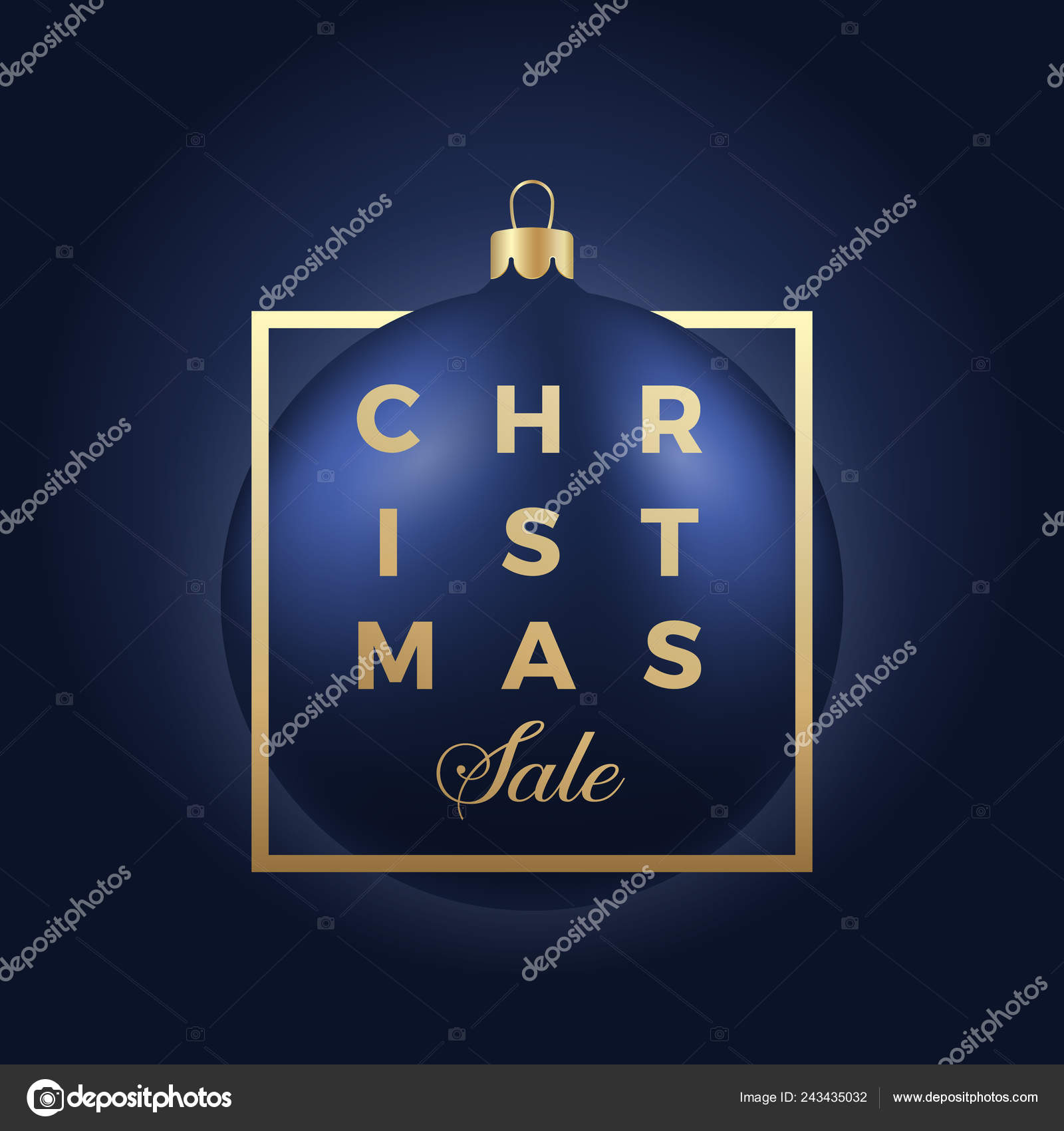 Christmas Sale Banner Or Sticker Blue Ball On Classy Dark Background With Golden Modern Typography Stock Illustration