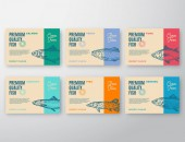 Photo Premium Quality Fish Labels Set. Abstract Vector Packaging Design or Label. Modern Typography and Hand Drawn Fish Silhouettes Background Layouts with Soft Shadows.