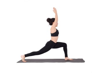 Young latin woman doing yoga pose. Sport fitness. Isolated whie background