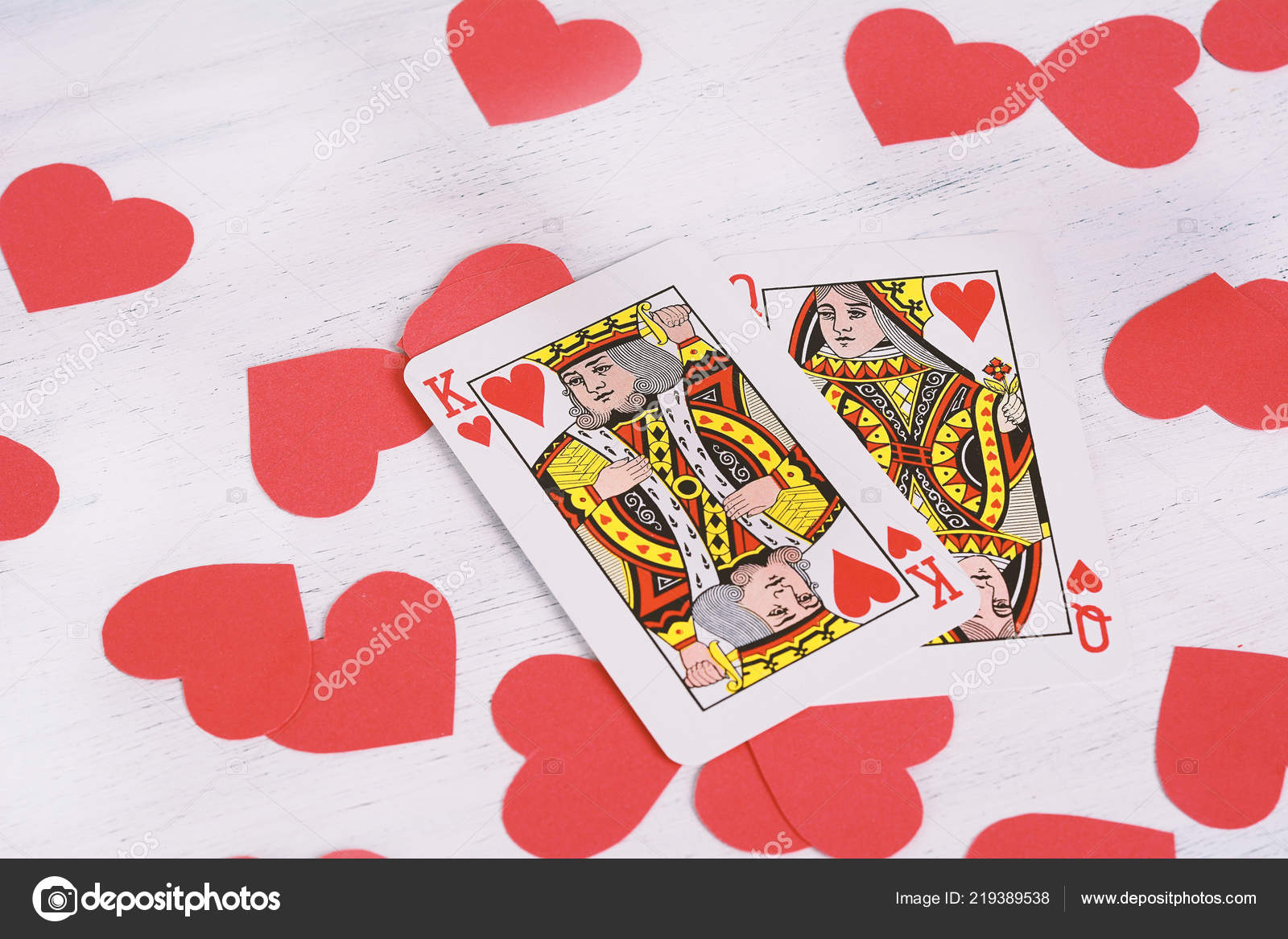 King Queen Hearts Red Hearts Shapes Valentine Day Concept