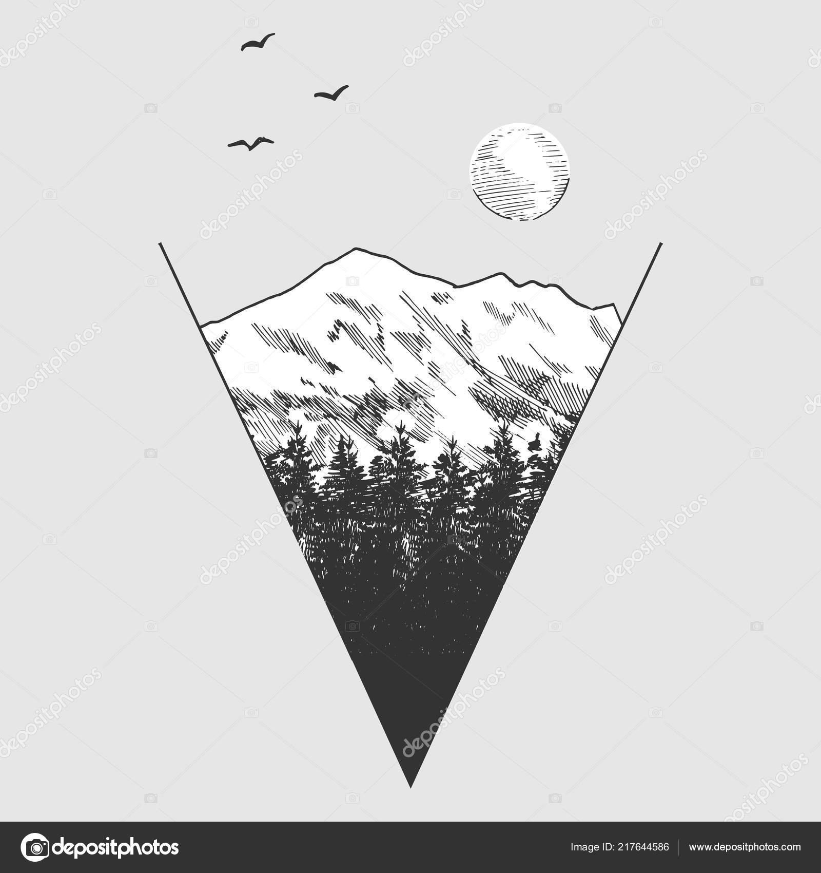 Vector Illustration Pics Montagnes Forêts Coupées Forme