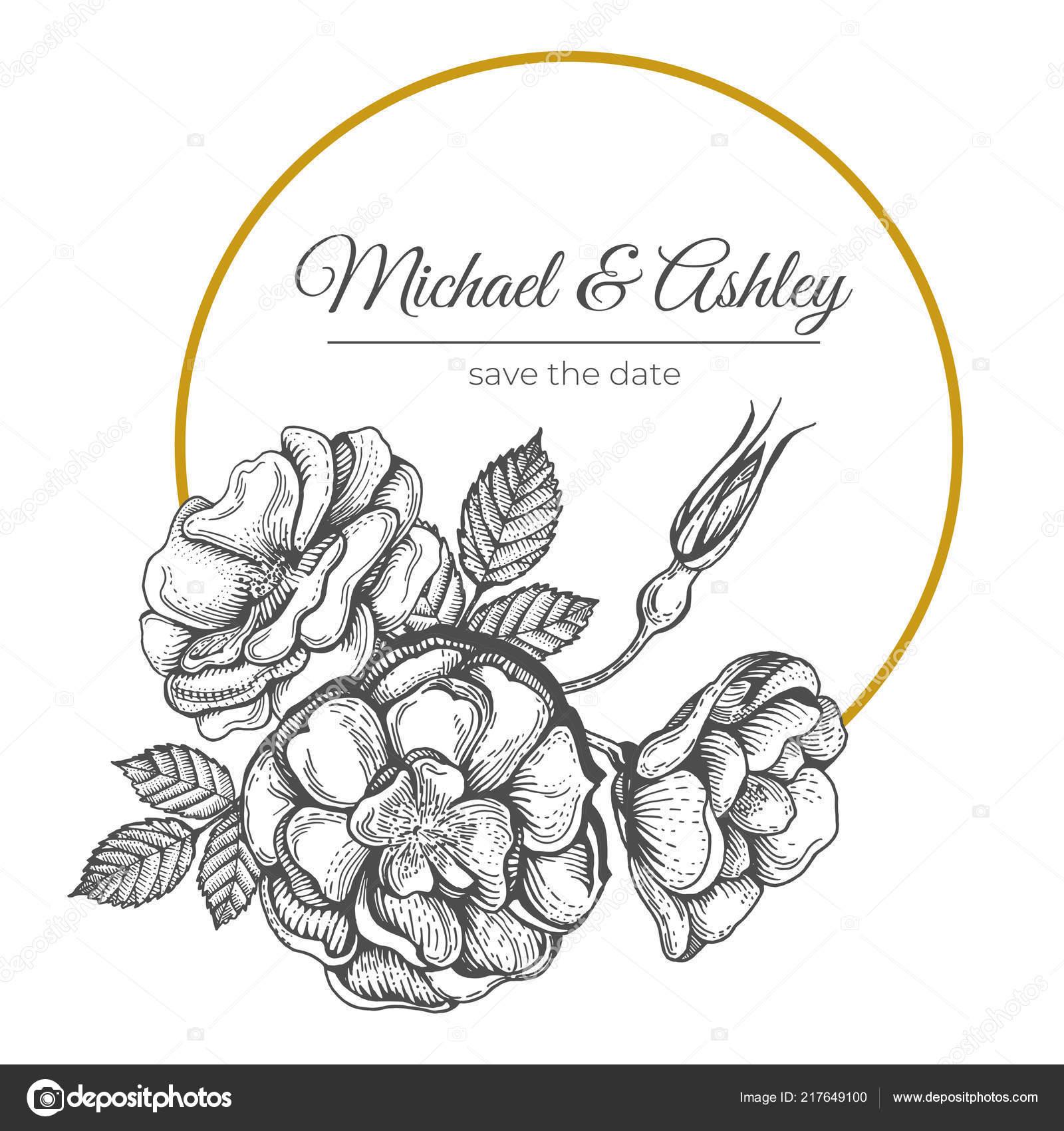 Ilustración Vector Ramo Rosado Silvestre Diseño Tarjeta