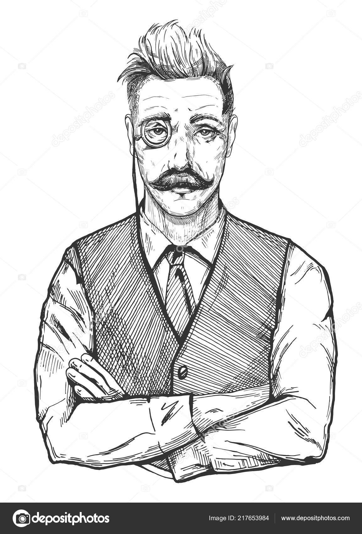Portrait Illustration Séduisant Mans Homme Vintage Vectorielle Âge UZw0qSaXw
