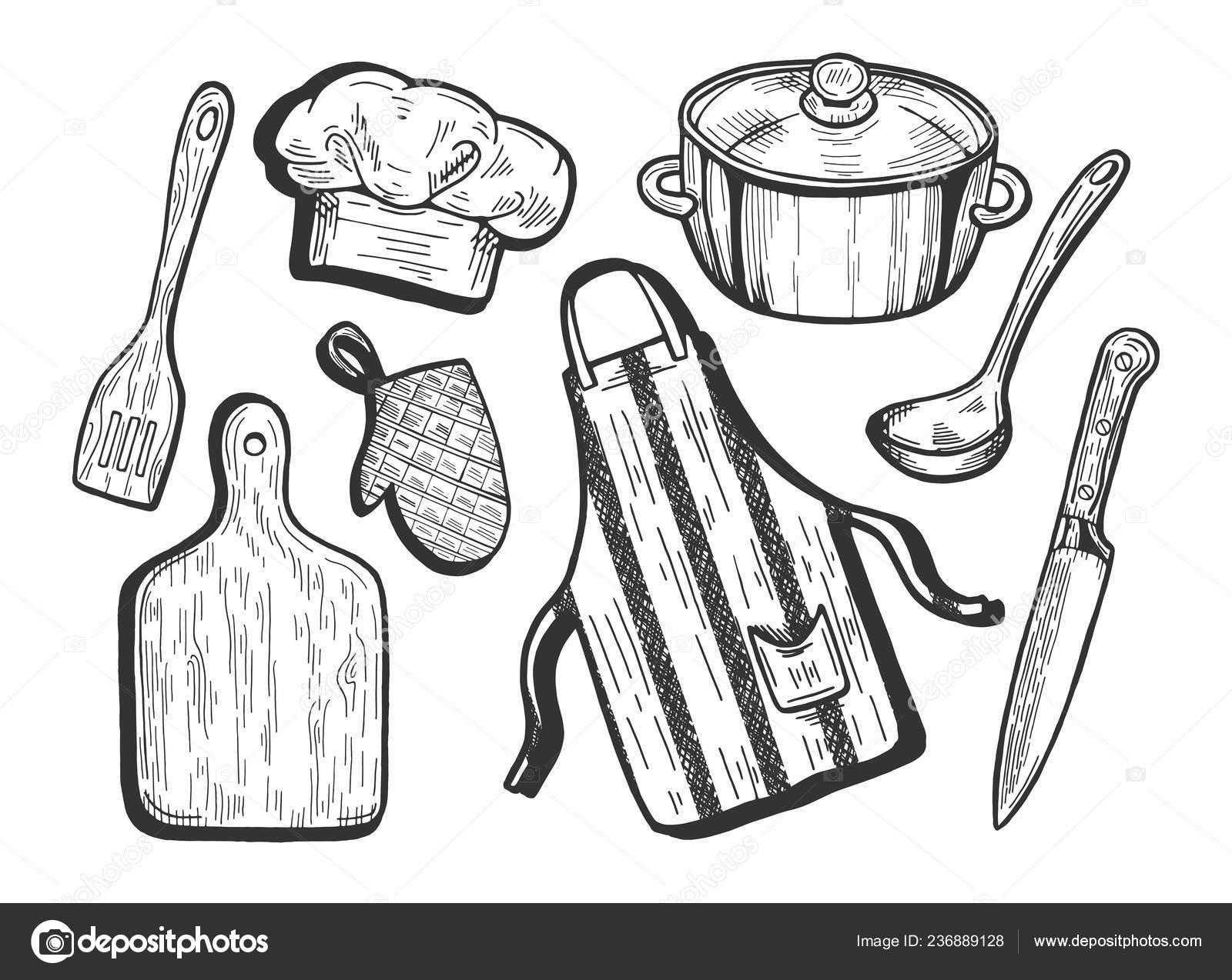 Vector Illustration Kitchen Utensils Cook Cap Chef Hat Apron Cutting