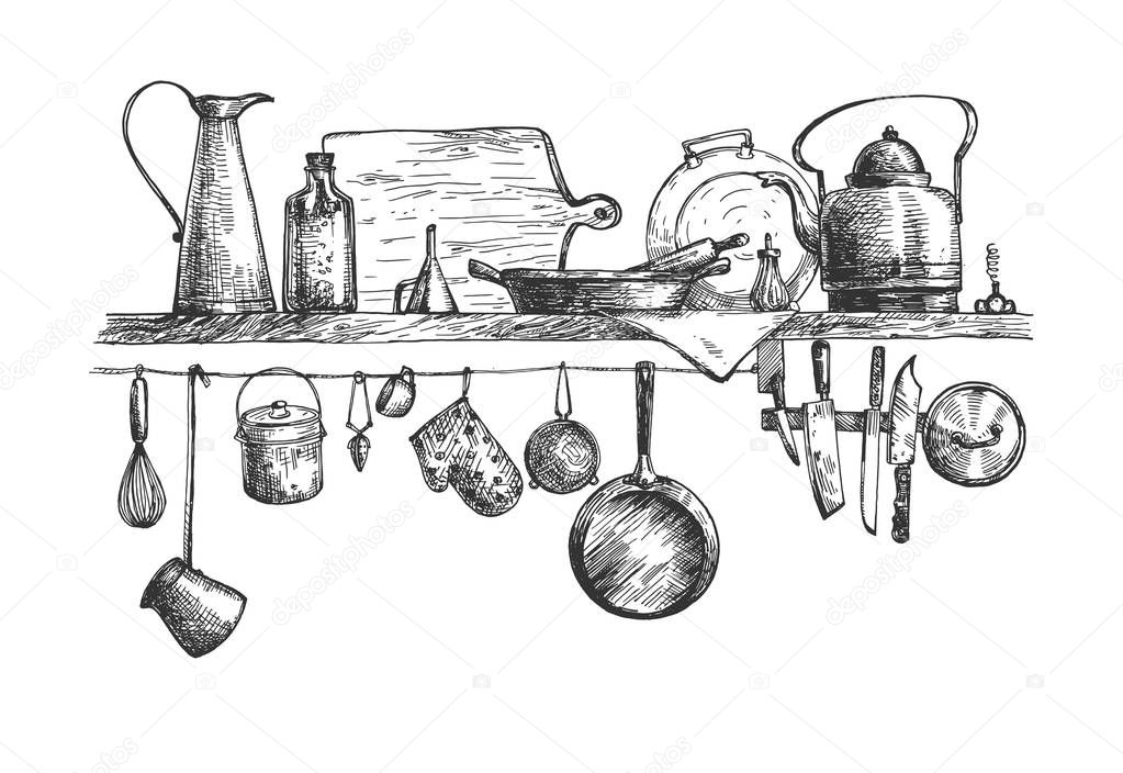 Vector Illustration Of Kitchen Wall Shelf Objects Still Life Cooking Tools Jug Jar Cutting Board Pan Kettle Pot Knife Whisk Turkish Coffee Maker Cup Oven Mitten Vintage Hand Drawn Style Premium