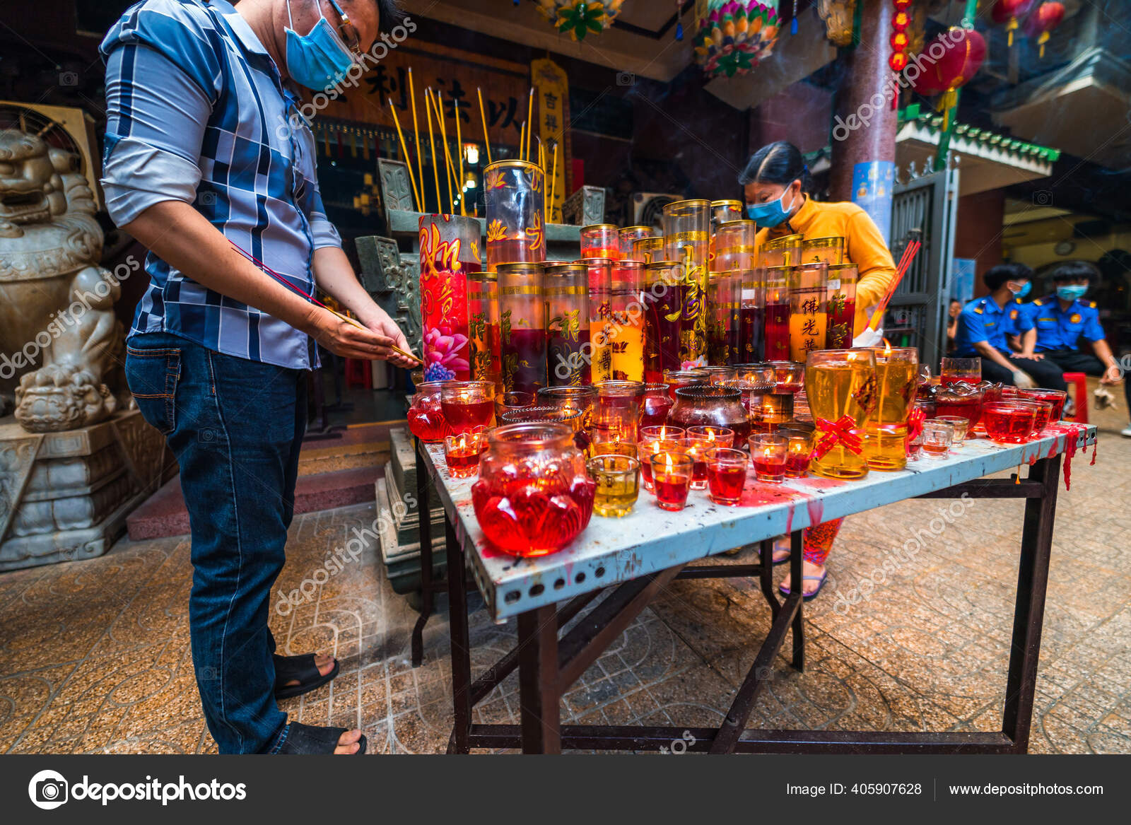 Chi Minh Vietnam Aug 2020 People Visit Thousand Buddha Temple — Stock Photo, Image