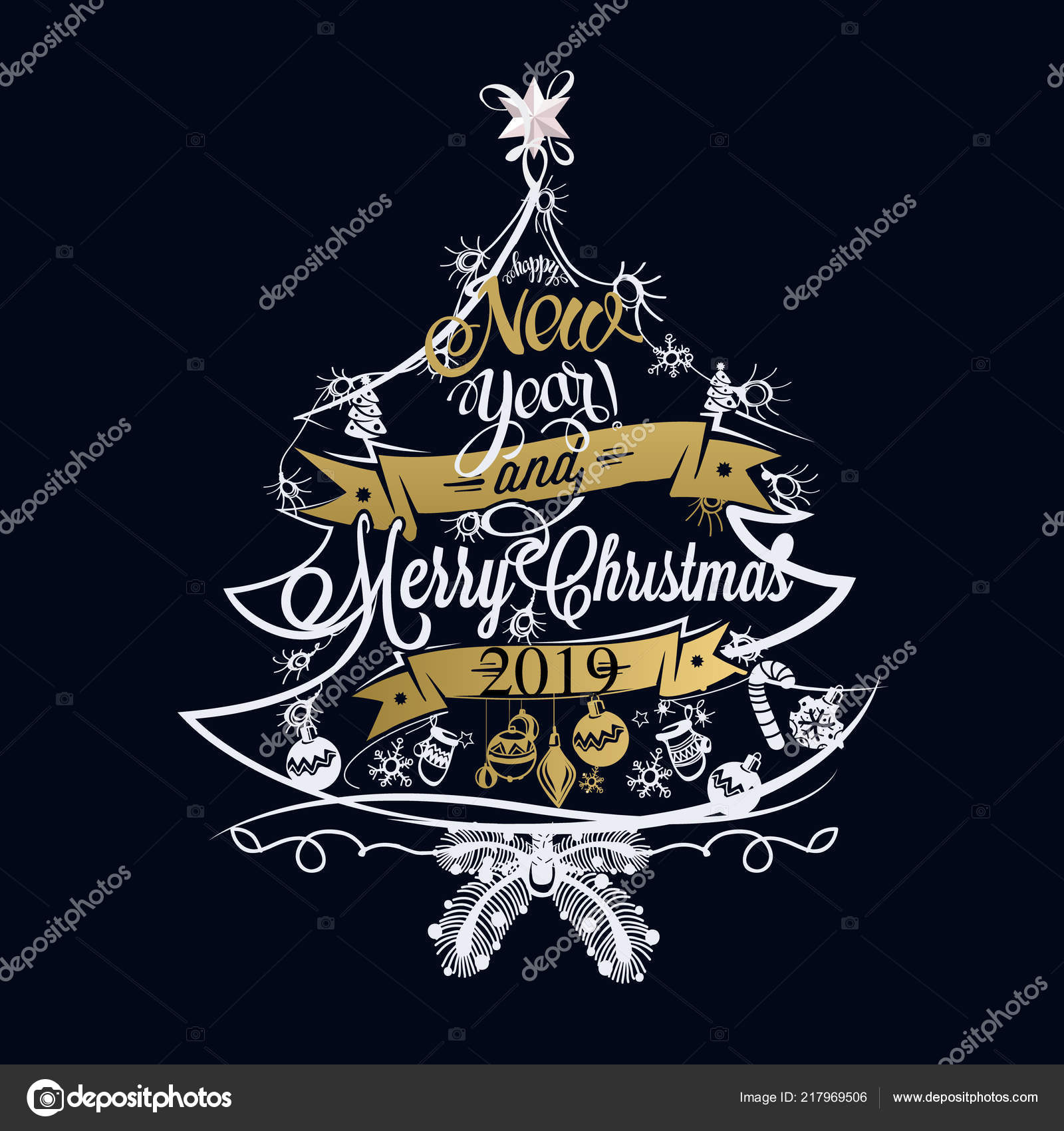 2019 christmas and new year label with colored lights on a christmas tree decoration of calligraphic design with typographic labels symbols and icons