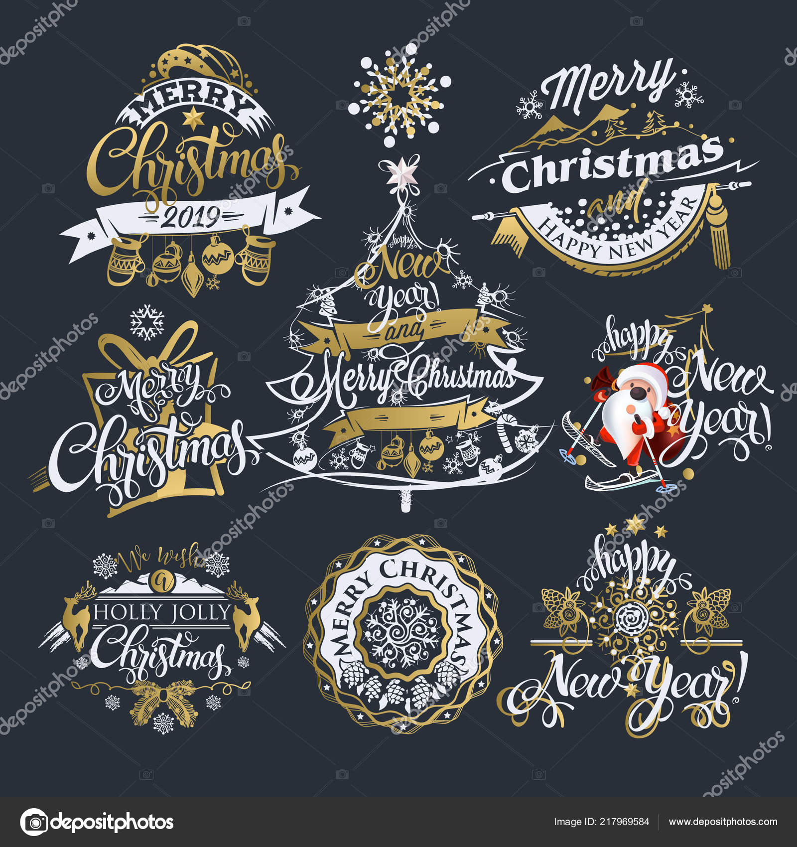 2019 christmas and new year labels and borders decoration set of calligraphic design with typographic labels and icons elements for you