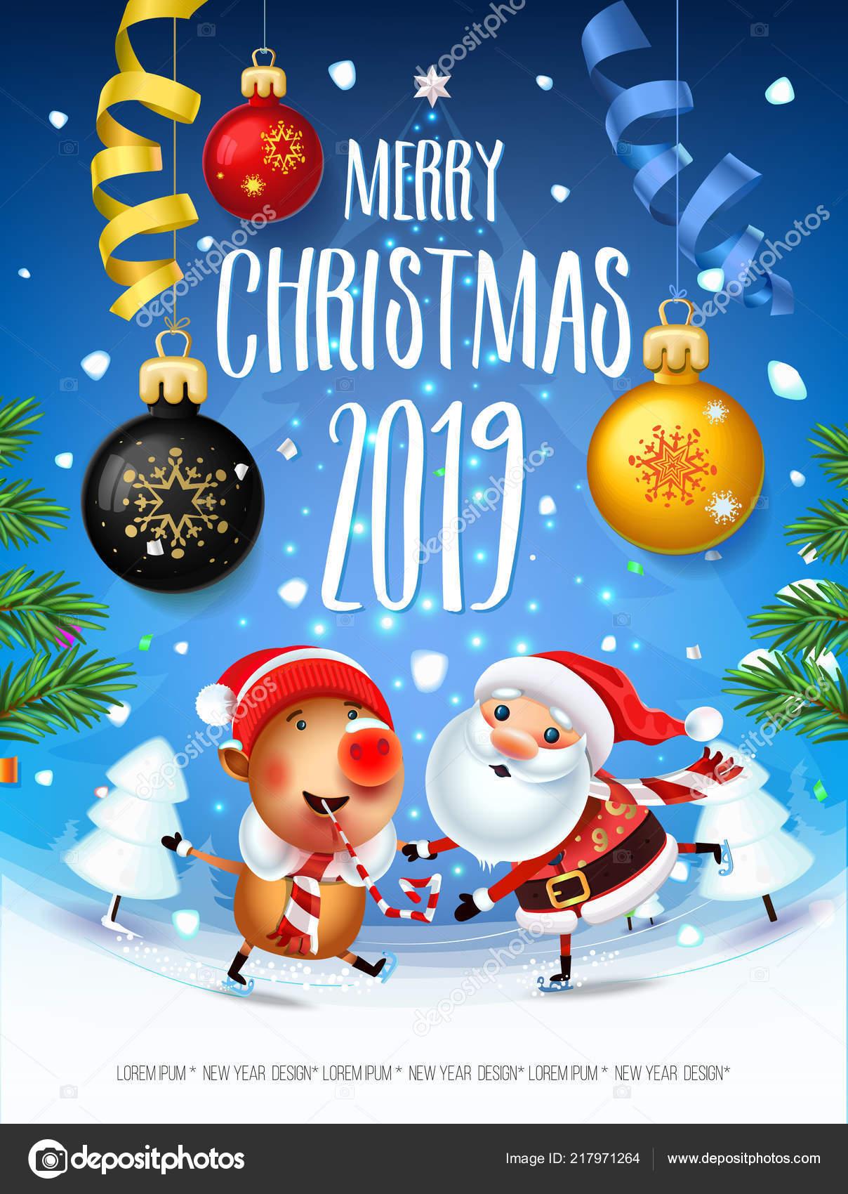 Weihnachten 2019 Schnee.Santa Claus Mit Dem Symbol Des 2019 Schweine Auf Schlittschuhen