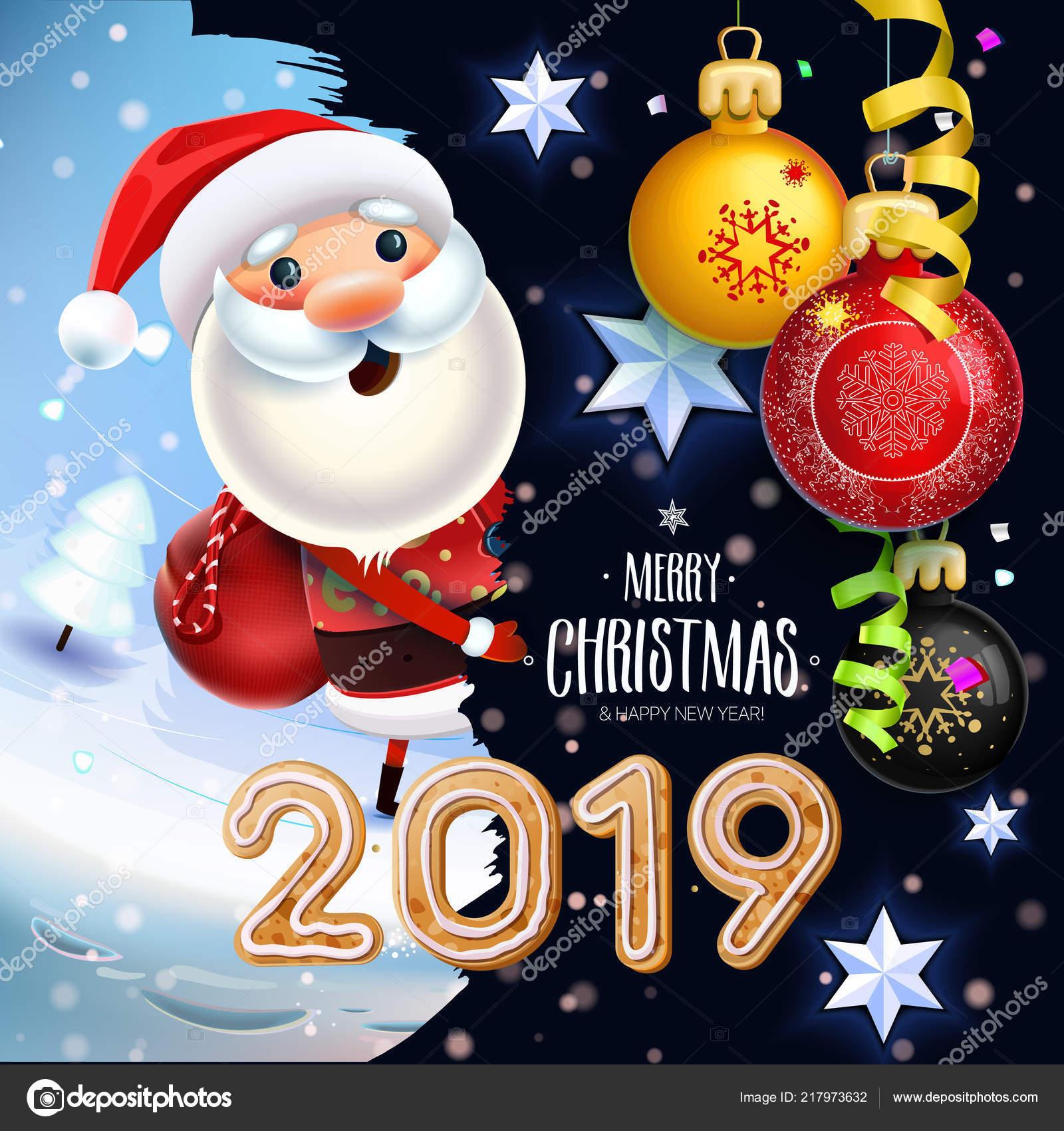 Imagenes De Navidad 2019.Simbolo Ano Nuevo Feliz Navidad 2019 Santa Claus Fondo