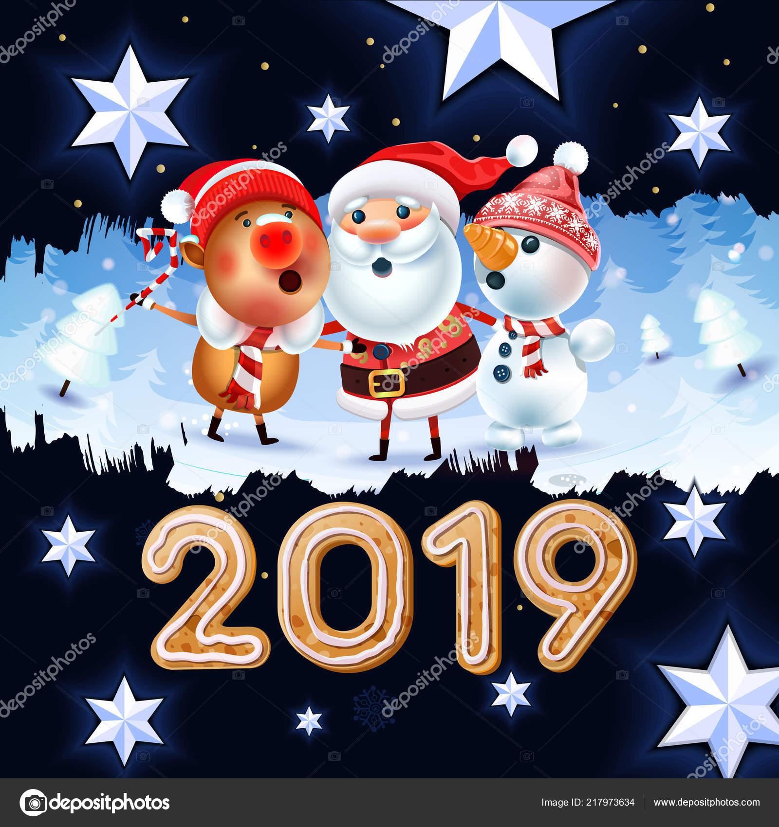Año Fondo Feliz Navidad Santa 2019 Claus Invierno Símbolo Nuevo c1TFlKJ