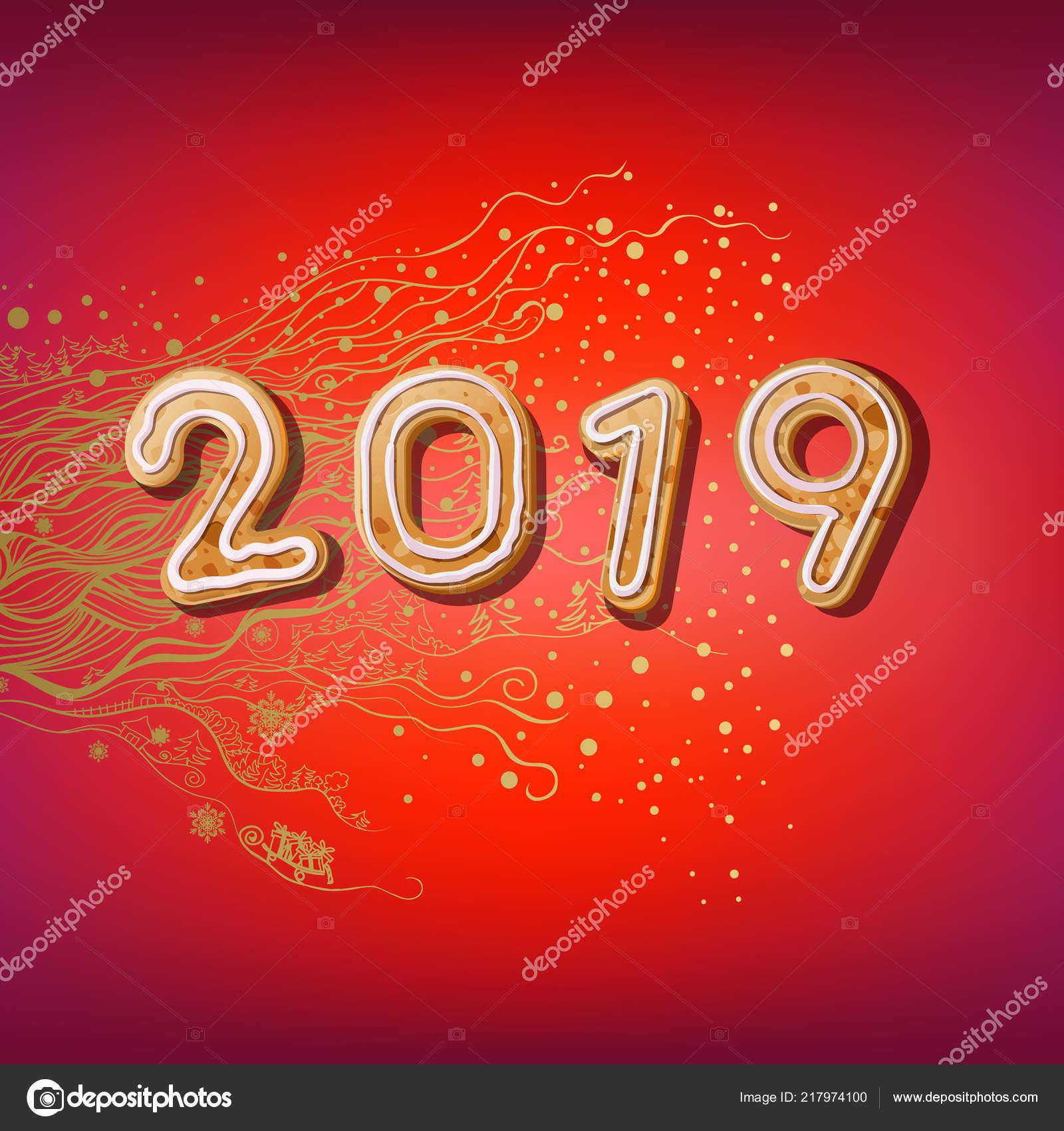 Weihnachtsgebäck 2019.2019 Merry Christmas New Year Plakat Symbol Beschreibung 2019 Von