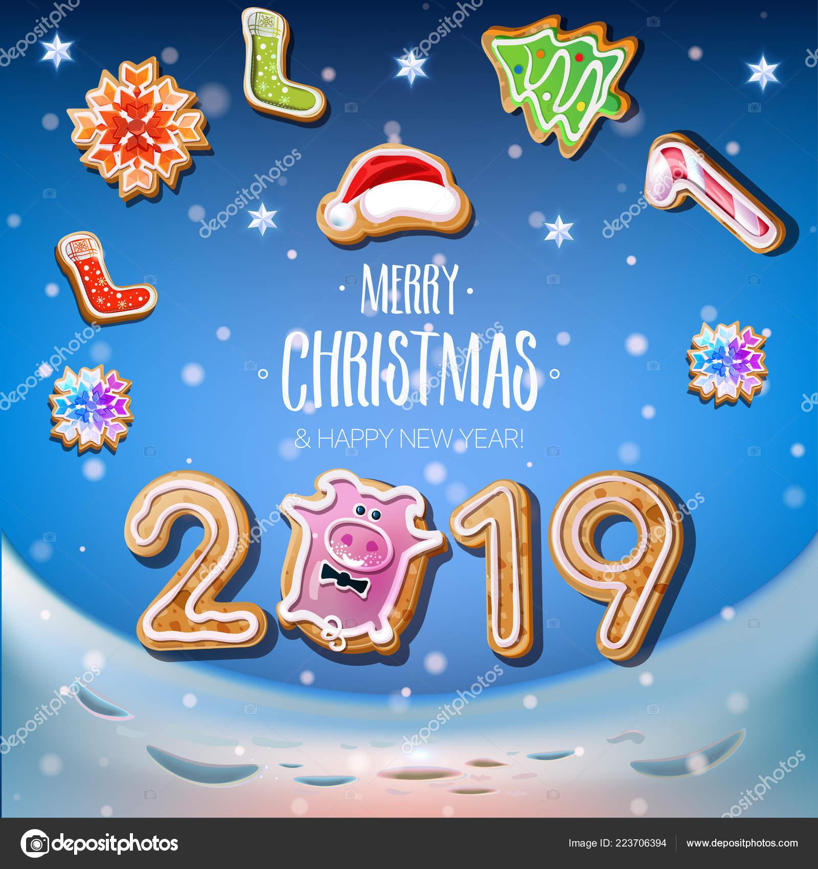 Weihnachtsgebäck 2019.2019 Neujahr Auf Dem Blauen Hintergrund Mit Weihnachtsgebäck Form