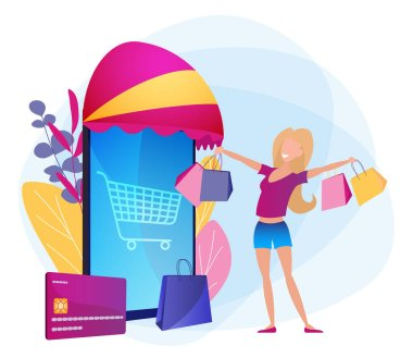 Online shopping. Customer acquisition marketing loyalty program. Creative retail promotion, improving your sales concept. Bright purple vector illustration with smartphone and girl. icon