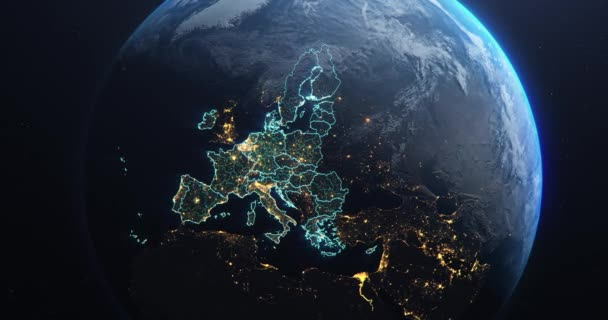 Planet Earth from Space European Union Countries highlighted teal glow, 2020 political borders and counties, city lights, animation 3d illustration