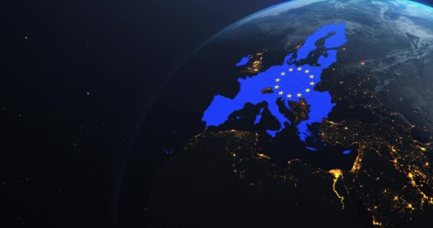 Planet Earth from Space European Union Map EU Flag, 2020 political borders post brexit, 3d illustration, elements of this image courtesy of NASA